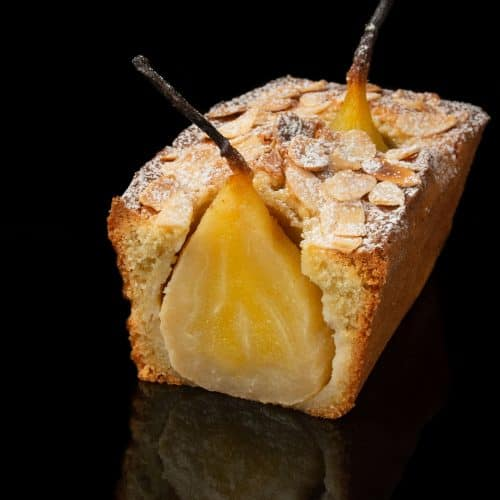 Poached pear pound cake