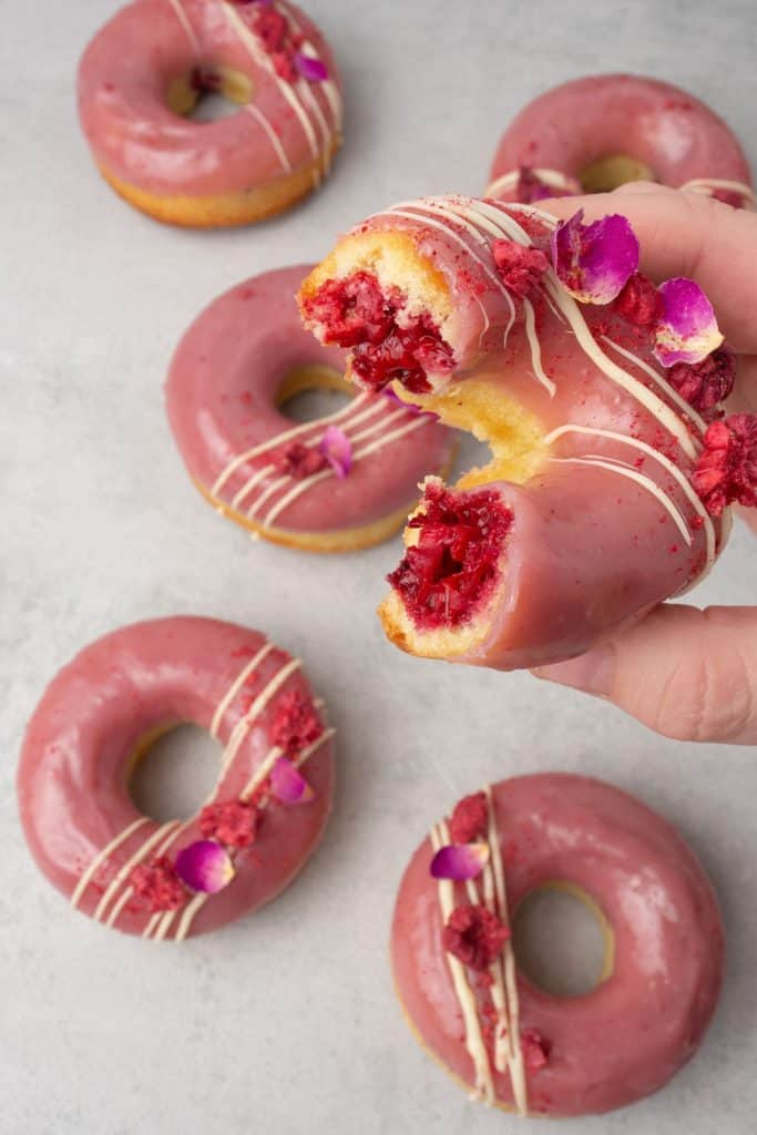 Baked donuts with raspberry and rosewater
