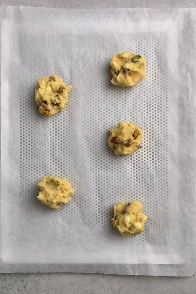 Raspberry pistachio cookie process