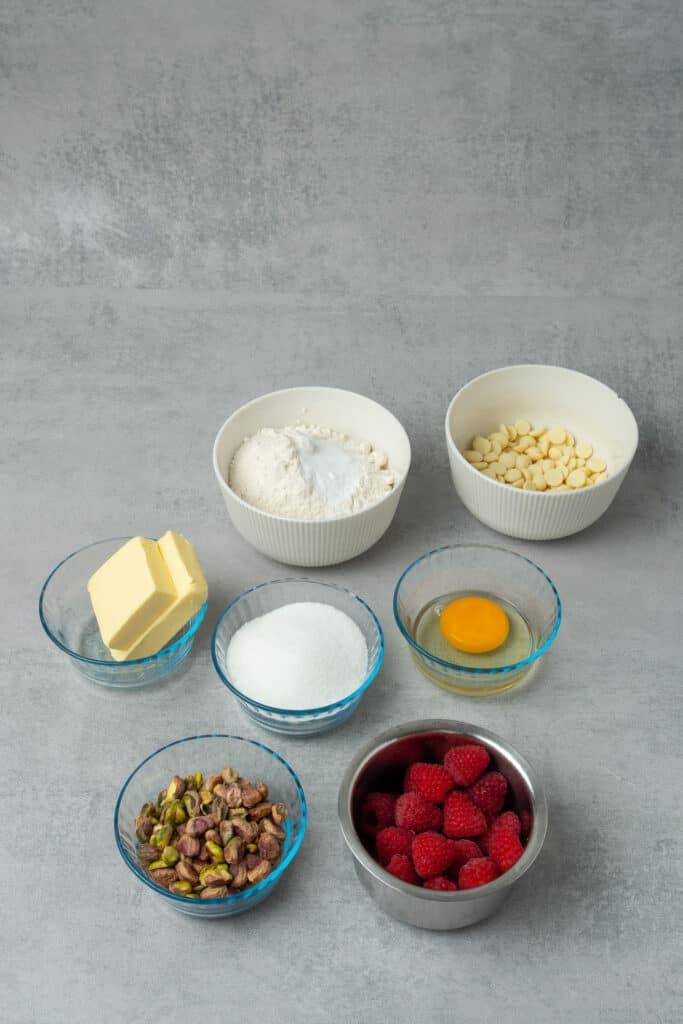 Raspberry pistachio cookie ingredients