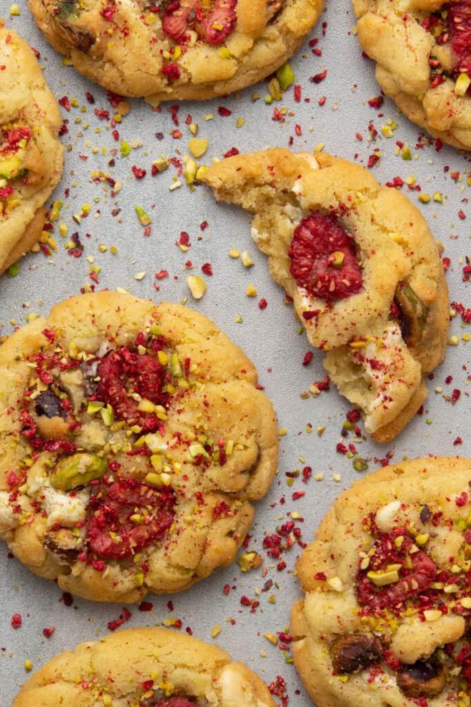 Raspberry pistachio cookie