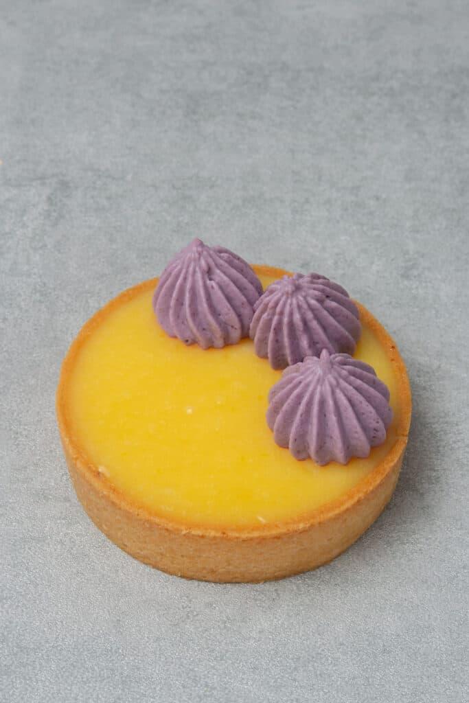 Lemon blueberry tart process